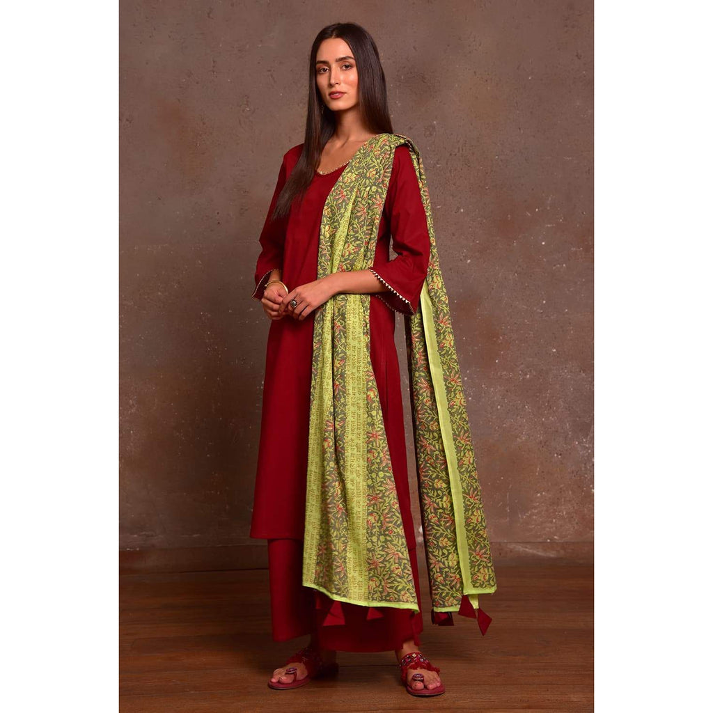 maroon and pista green Cotton Kurta Pallazo and Dupatta Set with Hand Block Work