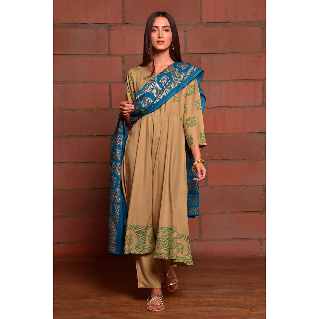 beige and royal blue rayon Kurta Pant and Dupatta Set with Metallic Hand Block Work