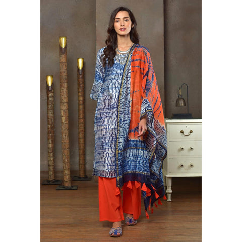 Orange And Indigo Chanderi Kurta Pant And Dupatta Set With Shibori Work