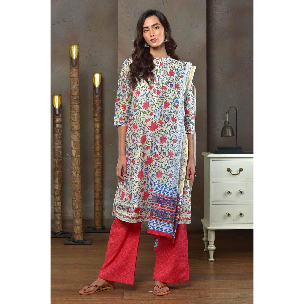 White With Red Floral Prints Chanderi Kurta Pant And Dupatta Set With Hand Block Work