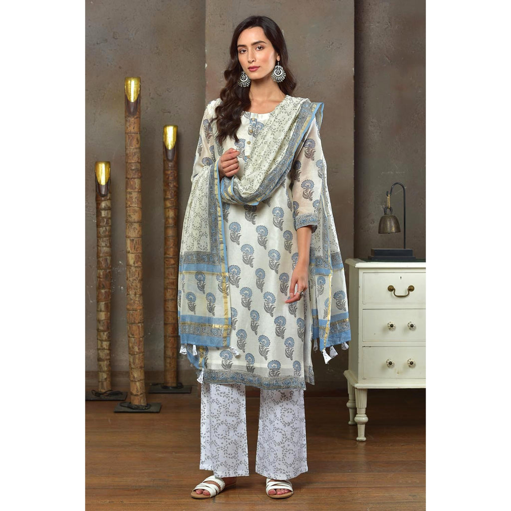 White With Blue Motif And Grey Border Chanderi Kurta Pant And Dupatta Set With Hand Block Work