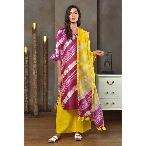 Magenta And Yellow Chanderi Kurta Pant And Dupatta Set With Shibori Work