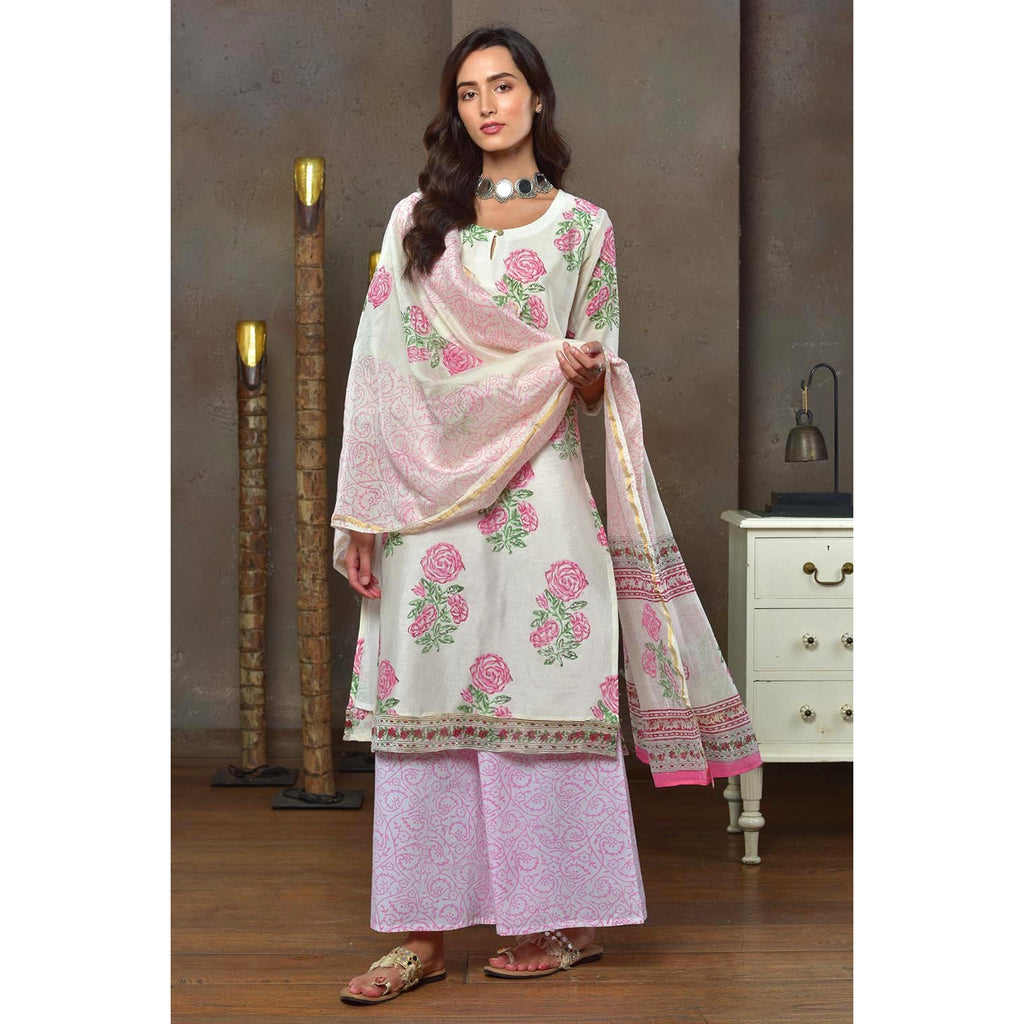 White With Baby Pink Rose Butta Chanderi Kurta Pant And Dupatta Set With Hand Block Work