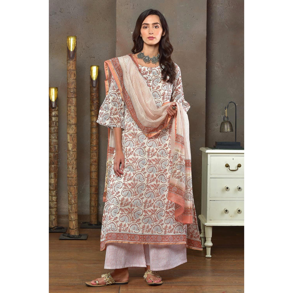 White With Cinnammon Brown Print Chanderi Kurta Pant And Dupatta Set With Hand Block Work