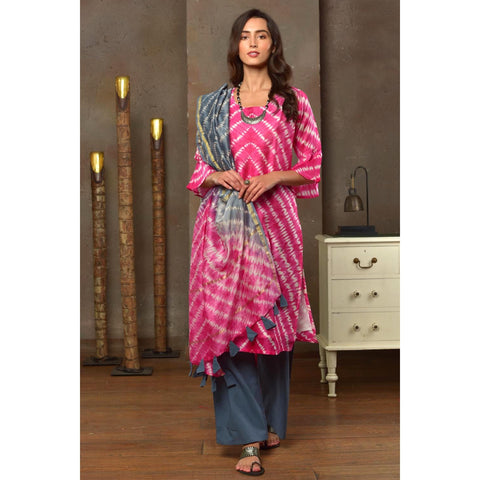 Hot Pink And Metallic Grey Print Chanderi Kurta Pant And Dupatta Set With Shibori Work
