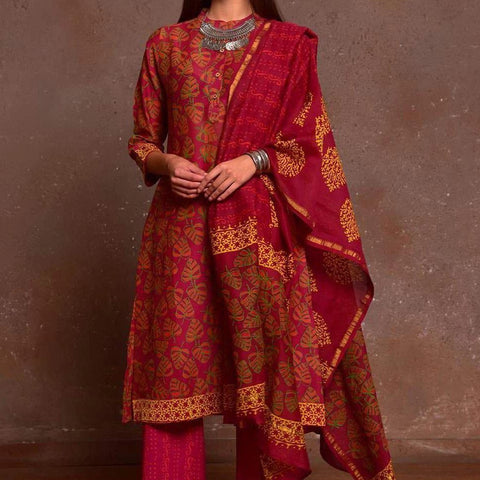 Maroon Red With Yellow Border Chanderi Kurta Pant And Dupatta Set With Hand Block Work