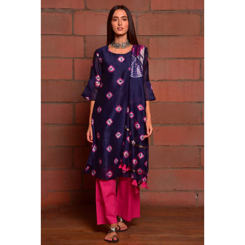Royal Blue With Fuschia Shibori Chanderi Kurta Pant And Dupatta Set With Shibori Work