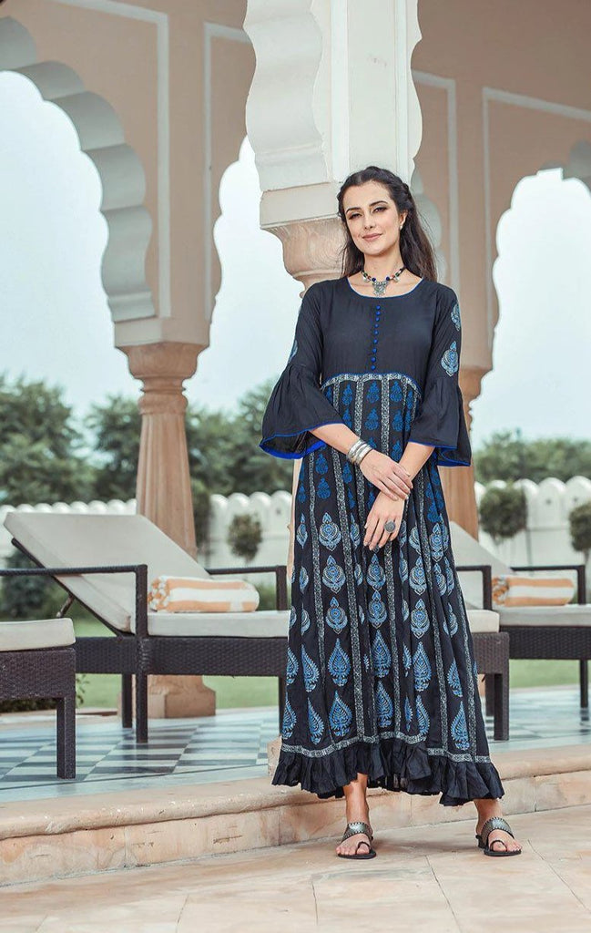 black anarkali dress with contrast piping