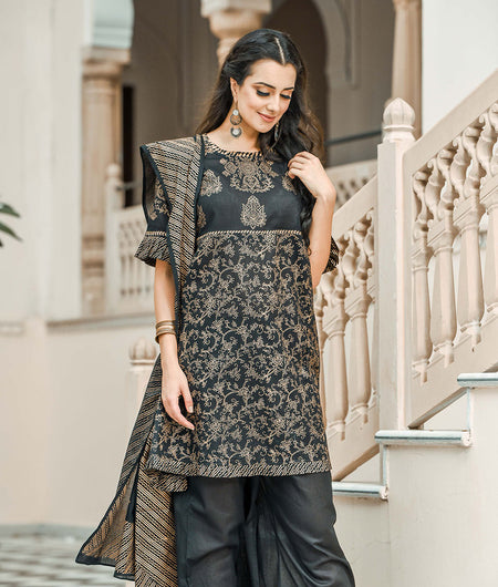 Golden printed kurta set with knife pleat details all over the dupatta