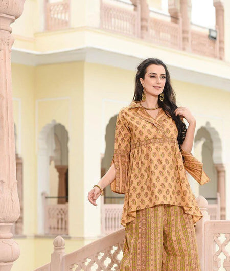 beige coat collar high low kurta with palazzo