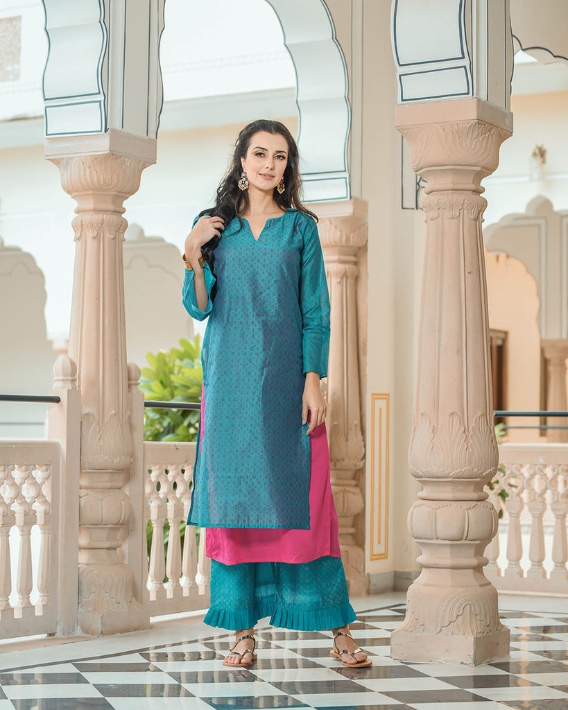 turquoise double layer kurta with frill palazzo