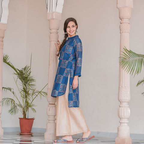 assymetric royal blue kurta with golden palazzo