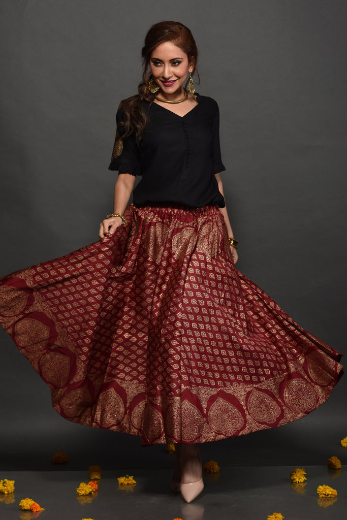 Hand Printed Black & Red Modal Tunic and Skirt