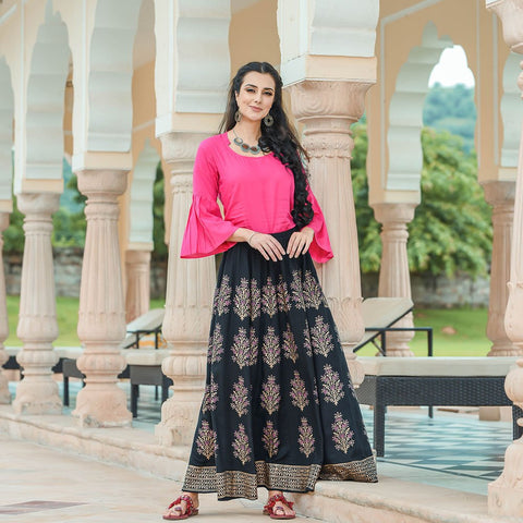 Pink Tunic With Black Ghagra