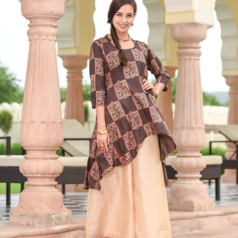 brown high low kurta with golden palazzo
