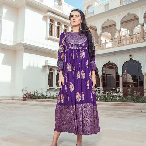 Purple Choli Neck Gher Dress With Floral Prints