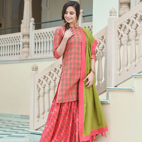 Carrot Pink Short Kurta With Sharara And Dupatta