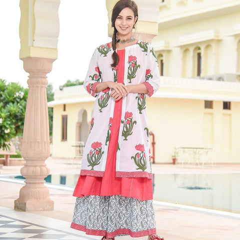 Pink Kurta With Floral Jacket And Palazzo