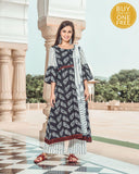 Black And White Peacock Print Kurta Set