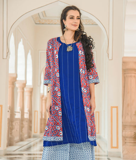 Printed Jacket With Solid Kurta With Kantha Details