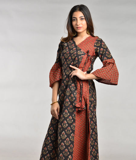 Hand Block Brown Cotton Kurta