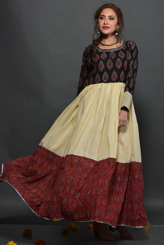 Hand Block Brown Cotton Dress