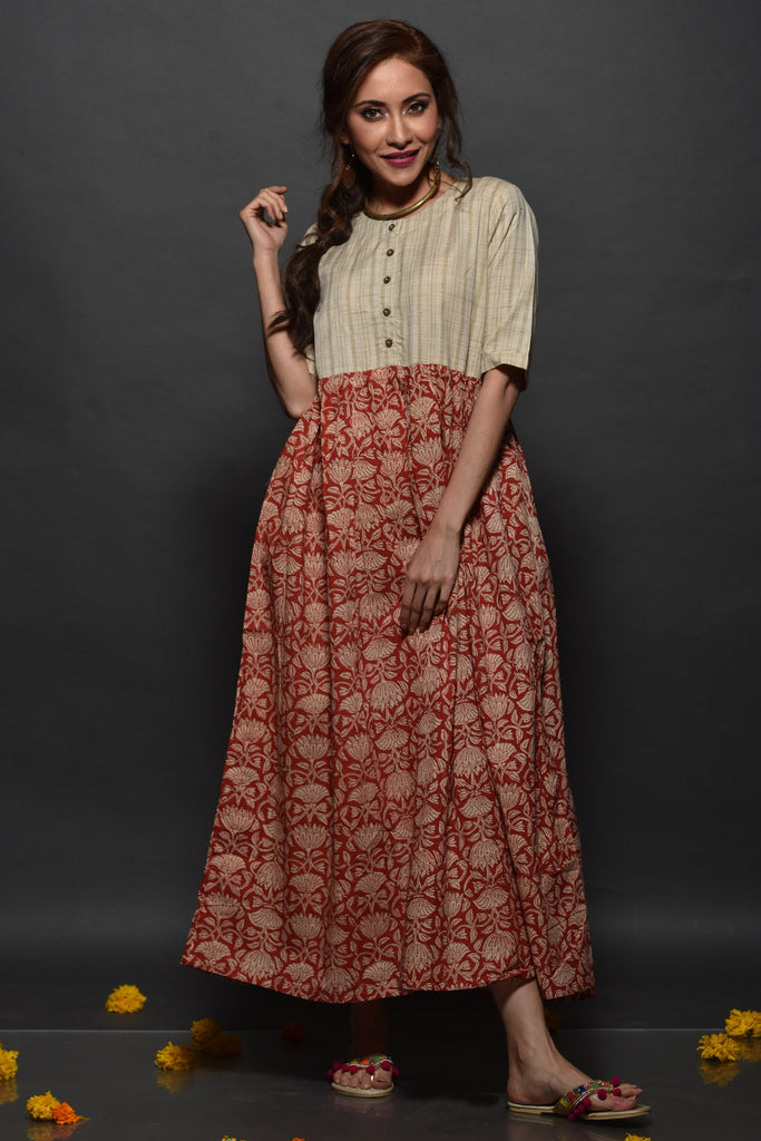Hand Block Beige Cotton Dress