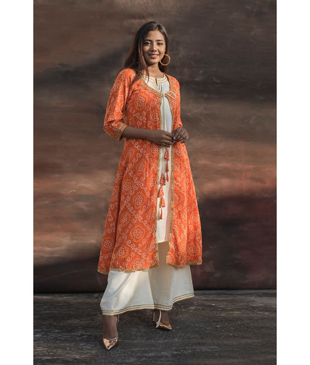 Orange Bandhani Kurta With Off-white