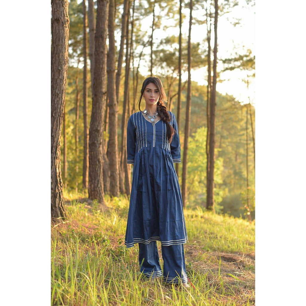 269611b5d8 Blue Box Pleated Kurta And Palazzo Set With Silver Gota Details ...