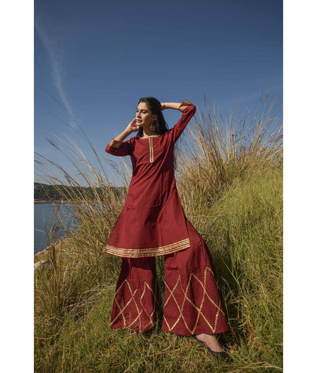 Maroon Kurta With Box Pleated Sharara