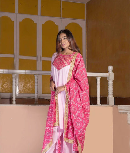 Pink Cambric Kurta With Bandhani York And Dupatta