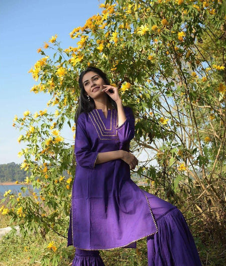 Purple Cambric Kurta With Sharara