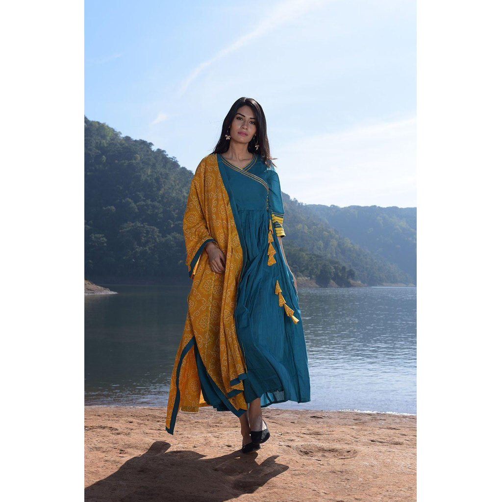 Turquoise Kurta With Yellow Bandhani Dupatta