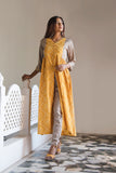 Yellow Bandhani Cape With Grey Modal Pants