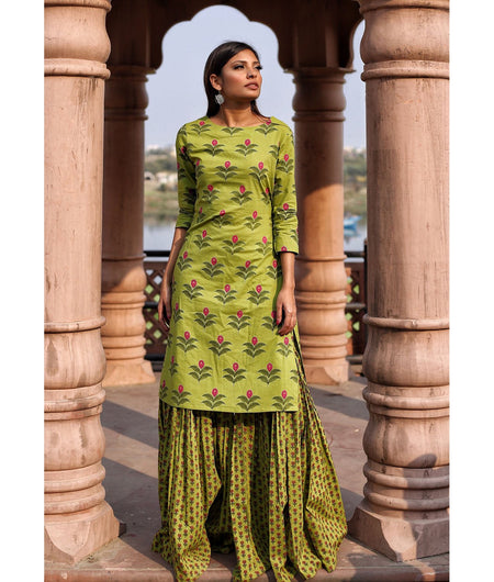 Parrot Green Hand Block Cotton Kurta Sharara Set
