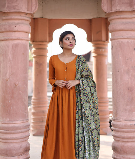 Rust And Basil Green Hand Block Rayon Kurta Palazzo Set