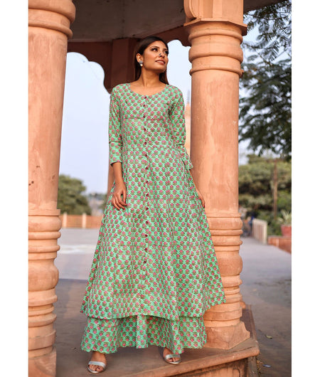 Fern Green Hand Block Cotton Kurta Palazzo Set