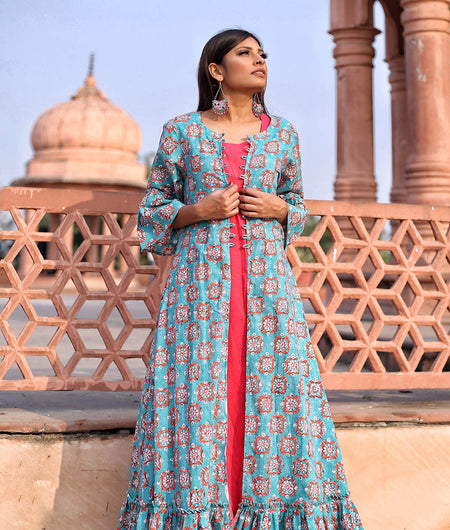 Turquoise And Pink Hand Block Cotton Dress