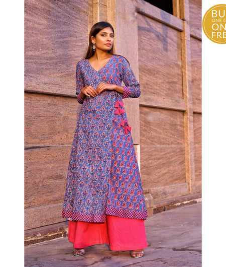 Indigo And Baby Pink Hand Block Cotton Kurta