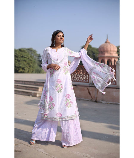 White And Rose Pink Hand Block Silk Cotton Kurta Set