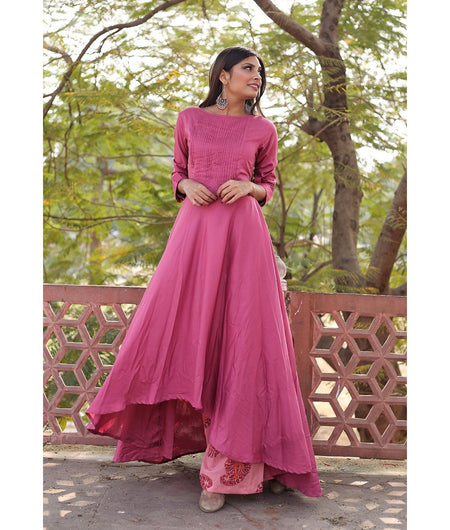 Plum And Rosewood Pink Hand Block Modal Kurta Palazzo Set
