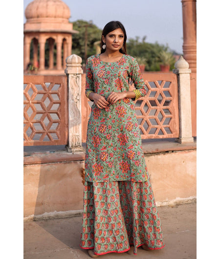 Basil Green Hand Block Cotton Kurta Sharara Set