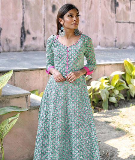 Fern Green Hand Block Cotton Kurta