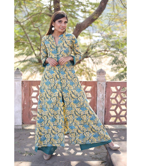 Yellow And Teal Hand Block Cotton Kurta Palazzo Set