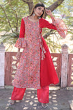 Peach And Red Hand Block Cotton Kurta