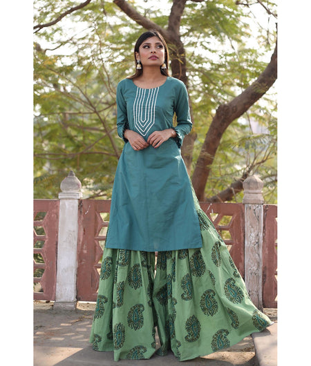 Basil Green And Teal Hand Block Poly Silk Kurta Sharara Set