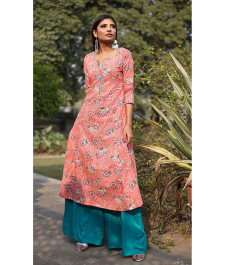 Peach And Turquoise Hand Block Cotton Kurta Palazzo Set