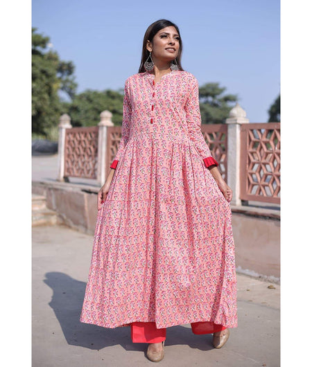 Baby Pink Hand Block Cotton Kurta