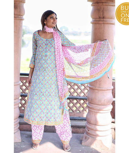 Turquoise Hand Block Cotton Suit Set