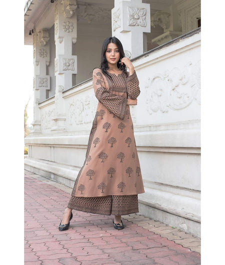 Mud Brown hand block Rayon Flax Kurta Set